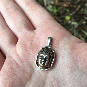 Jewelry - Cooper buddha head in sterling silver pendant